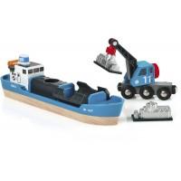 Игрушка корабль для железной дороги BRIO с вагоном-краном (33534)