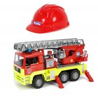 Игрушка Bruder Пожарная машина MAN TGA с водой, светом и звуком, и каской в подарок (01760)