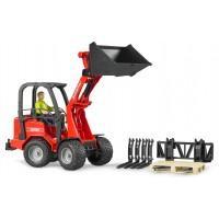 Іграшка Bruder навантажувач Schaffer Compact 2034 з водієм, вилами і піддоном (02191)