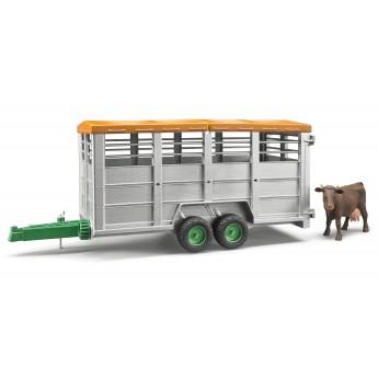 Игрушка Bruder прицеп для перевозки животных с коровой (02227)