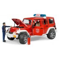 Іграшка позашляховик Jeep Wrangler з пожежником і мигалками Bruder 02528