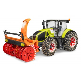 Игрушка Bruder трактор Claas Axion 950 со снегоочистителем и цепями (03017)