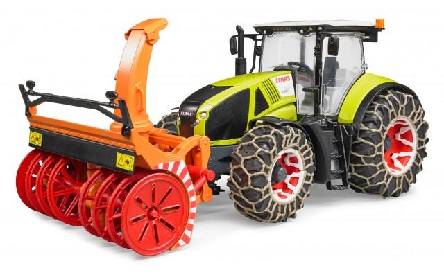 Іграшка трактор Claas Axion 950 зі снігоочисником і ланцюгами Bruder 03017