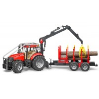 Игрушка Bruder трактор Case CVX 230 с манипулятором и прицепом для бревен (03098)