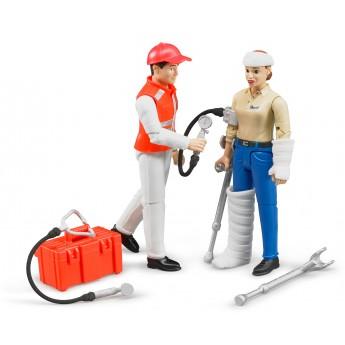 Фигурки: врач скорой помощи и пациент Bruder (62710)