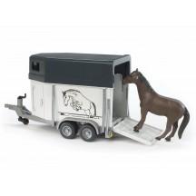 Игрушка Bruder прицеп-коневозка с лошадью (02028)