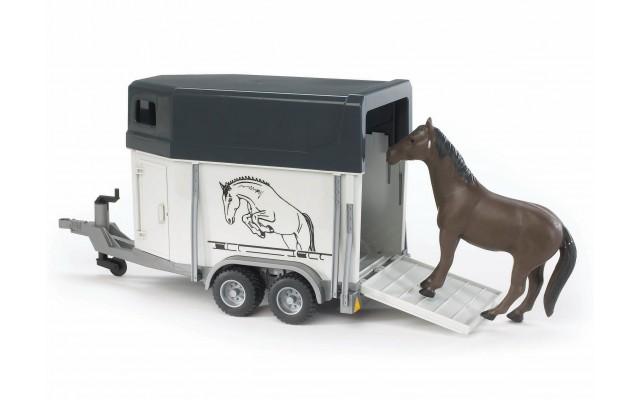 Іграшка причіп-коневозка з конем Bruder 02028