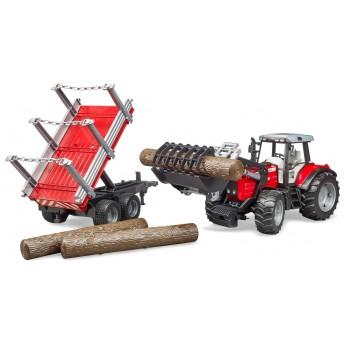 Игрушка Bruder трактор Massey Ferguson 7480 с погрузчиком и лесным прицепом (02046)