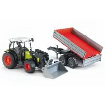 Іграшка трактор з навантажувачем і причепом Claas Nectis 267 F Bruder 02112