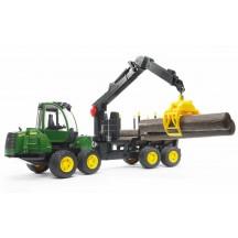 Игрушка Bruder трактор John Deere 1210E с прицепом с манипулятором и брёвнами (02133)