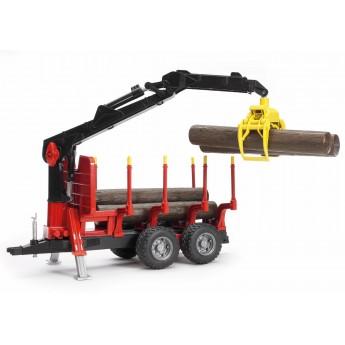 Іграшка причіп з навантажувачем і колодами Bruder 02252