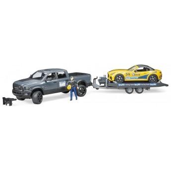Машинка Bruder джип Dodge RAM 2500 з причепом-евакуатором і родстером (02504)