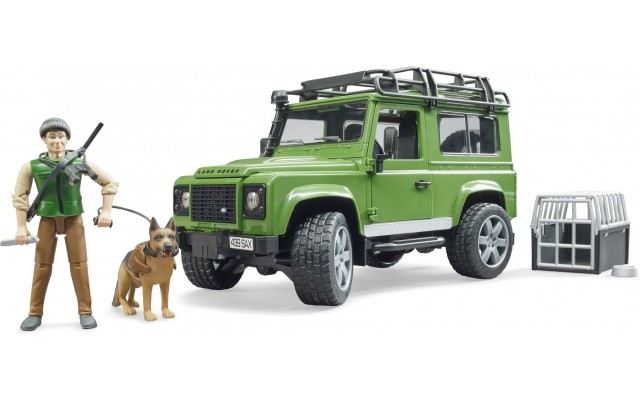 Игрушка Bruder джип Land Rover с фигуркой лесника, собаки и аксессуарами (02587)