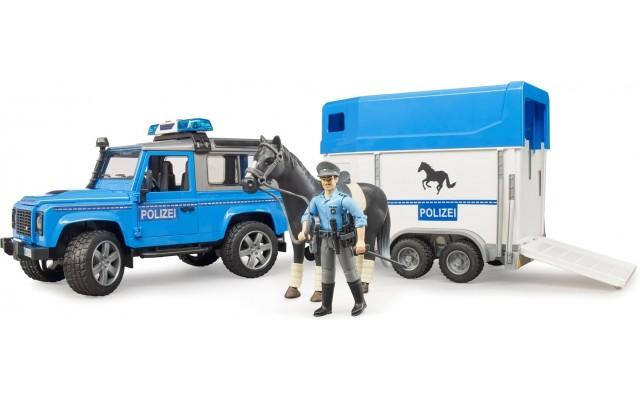 Полицейский джип Land Rover с прицепом-коневозкой и фигуркой полицейского на лошади Bruder (02588)