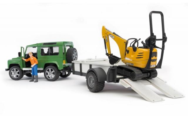 Іграшка позашляховик c причепом Land Rover Defender + екскаватор 8010 CTS Bruder 02593
