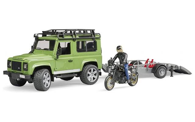 Игрушка Bruder джип Land Rover с мотоциклом Ducati (02598)