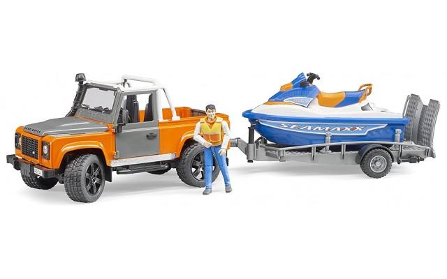 Іграшка Bruder джип Land Rover з причепом і водним скутером (02599)