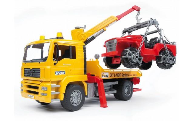 Іграшка евакуатор MAN з навантажувачем і джипом Bruder 02750