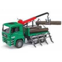 Игрушка Bruder лесовоз MAN с манипулятором и брёвнами (02769)