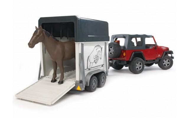 Игрушка Bruder внедорожник Wrangler c прицепом-коневозкой и лошадью (02921)