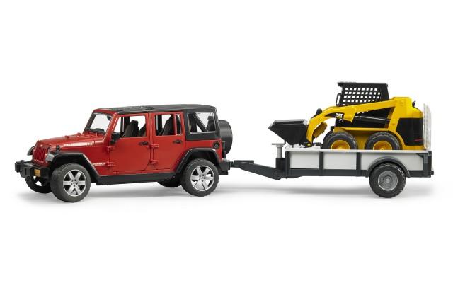 Іграшка позашляховик Jeep Wrangler Unlimited Rubicon з міні-навантажувачем CAT Bruder 02925
