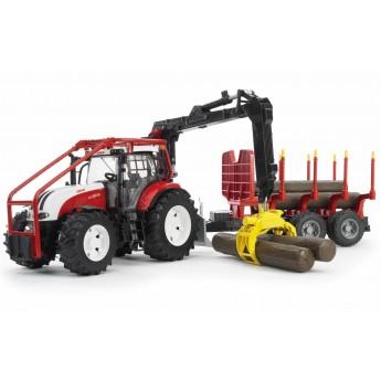 Игрушка Bruder трактор Steyr CVT 6230 лесной с манипулятором и прицепом с брёвнами (03093)