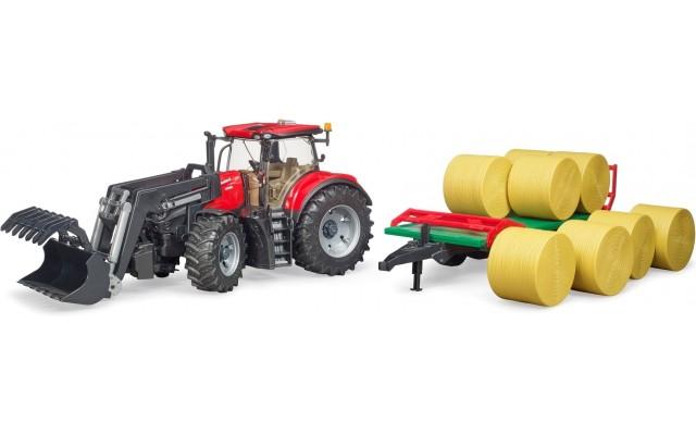Трактор Bruder Case CVX 300 с погрузчиком и прицепом с тюками (03198)