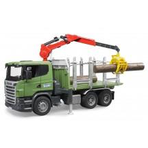 Игрушка Bruder лесовоз Scania с портативным краном и брёвнами (03524)