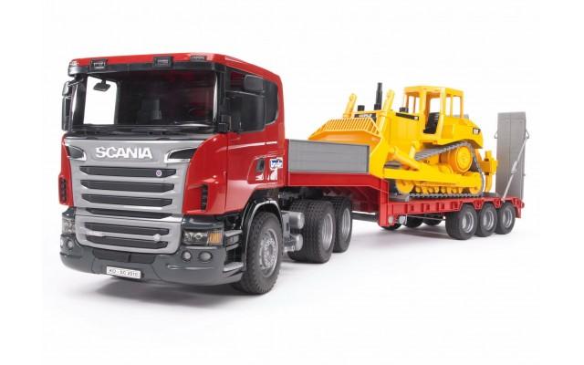 Игрушка Bruder тягач Scania с гусеничным бульдозером CAT (03555)