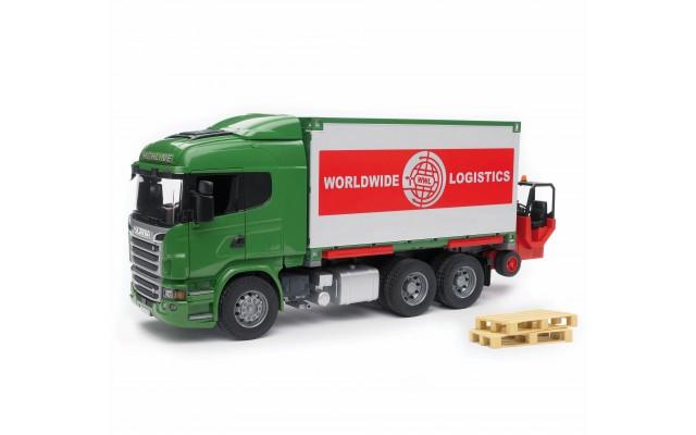 Игрушка Bruder фургон-контейнеровоз Scania с погрузчиком и паллетами (03580)