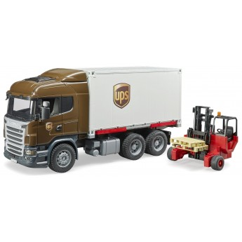 Іграшка Bruder логістичний фургон UPS Scania з навантажувачем (03581)