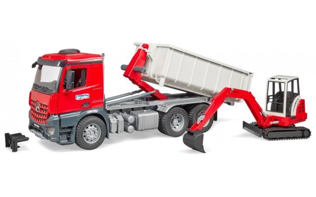Игрушка Bruder контейнеровоз Mercedes Arocs с экскаватором Schaeff HR16 (03624)