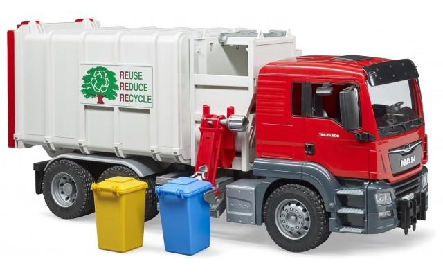 Машинка Bruder сміттєвоз Man з бічним завантаженням (03761)