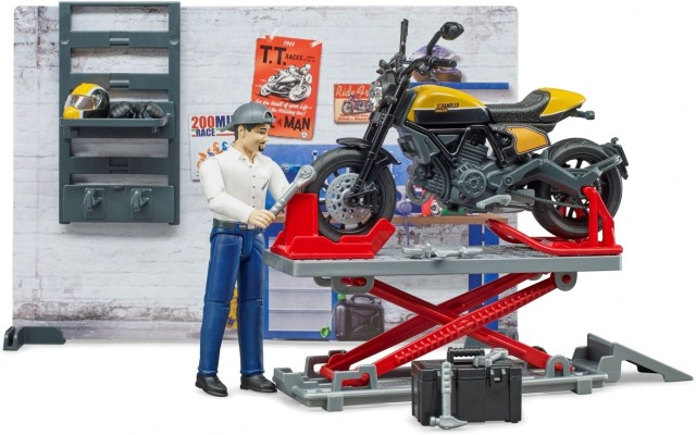 Набор Bruder Мотосервис с работником и мотоциклом Scrambler Ducati Full Throttle (62102)