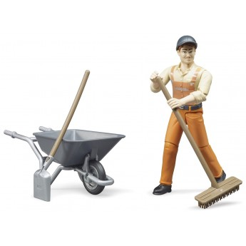Фигурка Bruder рабочий дорожной службы с инструментами (62130)