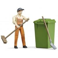 Фігурка Bruder робітник із інструментами для прибирання вулиць (62140)