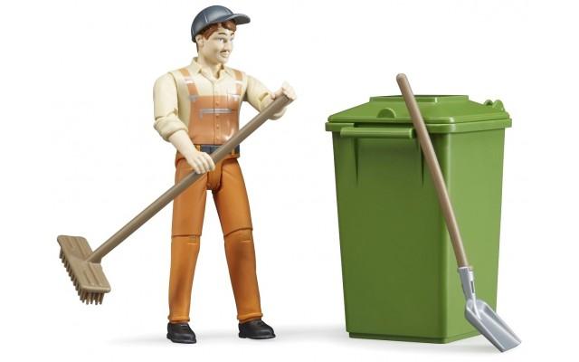 Фигурка Bruder рабочий с инструментами для уборки улиц (62140)