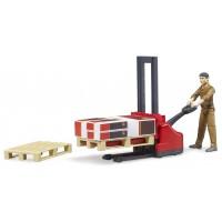 Набор Bruder рабочий с вилочным погрузчиком и аксессуарами (62210)