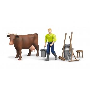 Фигурки корова и фермер с инструментами Bruder (62605)
