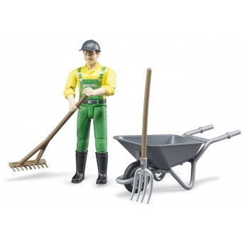 Фігурка Bruder робітник із інструментами для прибирання на фермі (62610)