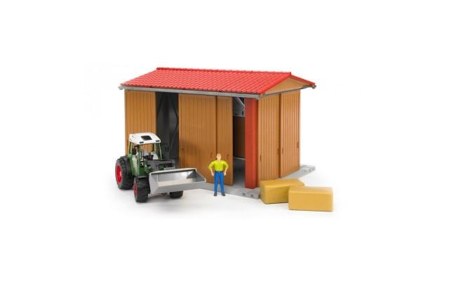 Іграшка гараж з трактором Fendt 209 S з навантажувачем, фігуркою і аксесуарами Bruder 62620