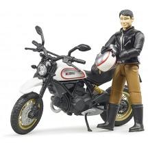 Игрушка Bruder мотоцикл Ducati Scrambler Desert Sled с водителем (63051)