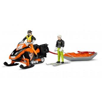 Іграшка снігохід з водієм, рятувальні сани, лижник Bruder 63100