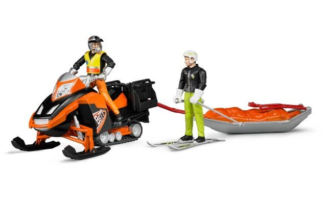 Фигурки снегоход с водителем, спасательные сани, лыжник Bruder (63100)