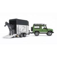 Іграшка позашляховик Land Rover Defender з коневозка + кінь Bruder 02592
