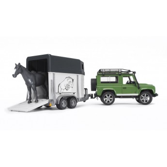 Игрушка Bruder внедорожник Land Rover Defender с прицепом-коневозкой и лошадью (02592)