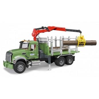 Іграшка лісовоз з маніпулятором і колодами MACK Bruder 02824
