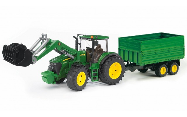 Іграшка трактор з навантажувачем і причепом John Deere 7930 Bruder 03055