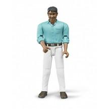 Фигурка мужчина в белых штанах и синей рубашке Bruder (60003)