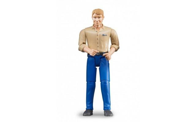 Фигурка мужчины в синих штанах и бежевой рубашке Bruder (60006)